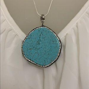 "Gorgeous!! Genuine Turquoise Pendant Necklace 20"""